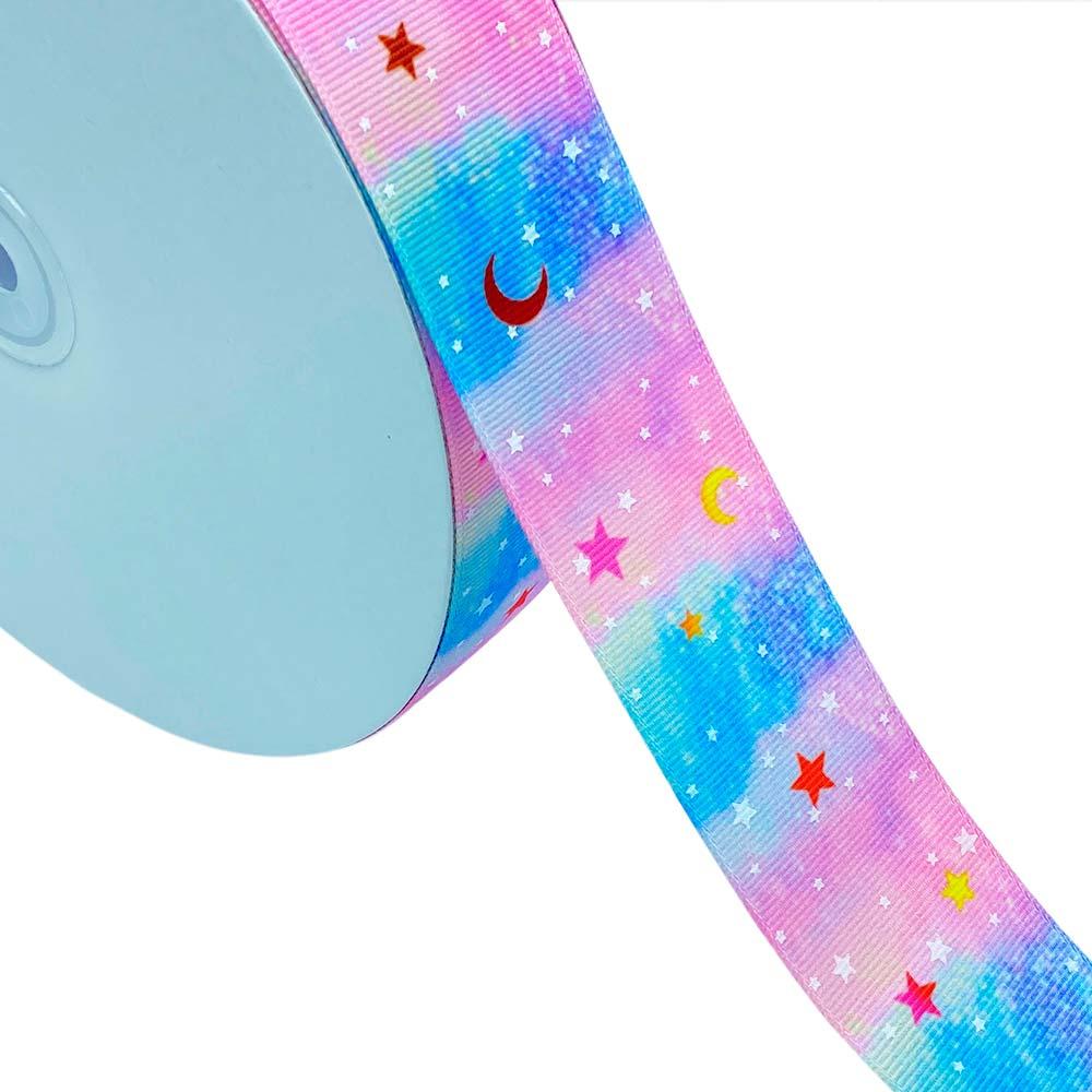 Fita de Gorgurão Estrela com Lua Mesclada Brilha no Escuro 38mm x 5mts
