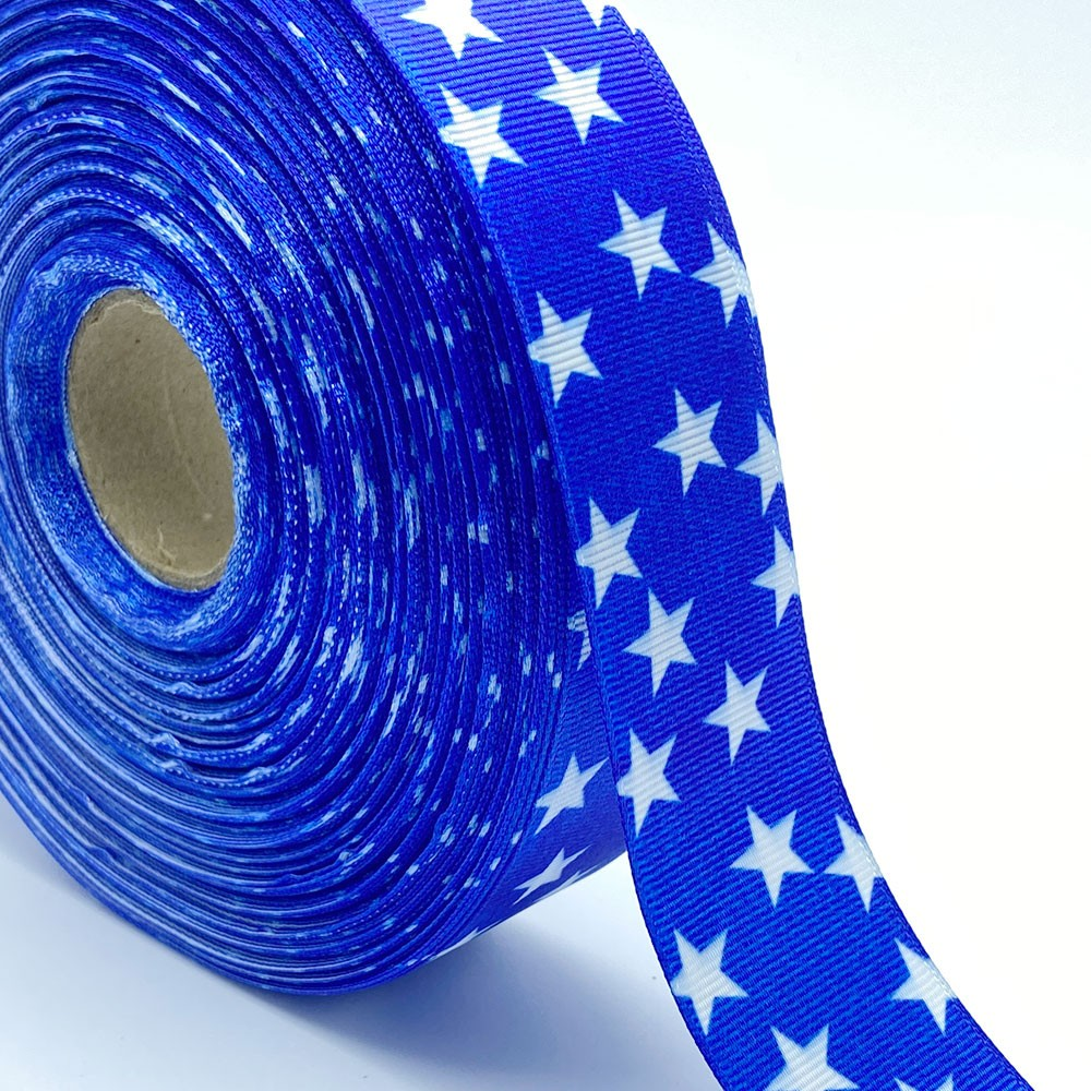 Fita de gorgurão Estrela fundo Azul 38mm x 5mts