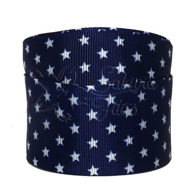 Fita de gorgurão Estrelas Azul Marinho 38mmx1mts