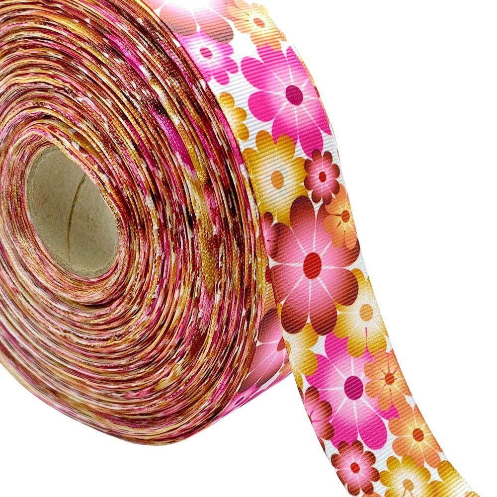 Fita de gorgurão Flor Colorida 38mm x 5mts
