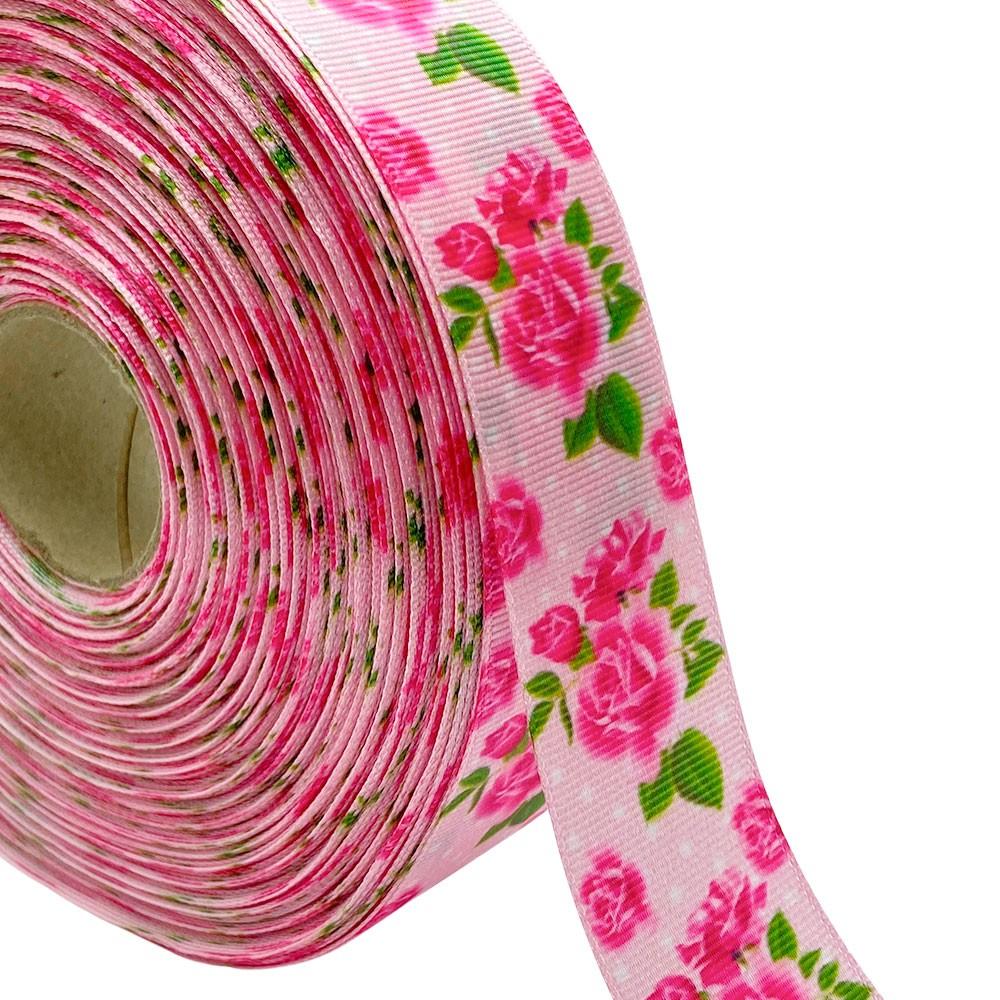 Fita de gorgurão Flor Poa fundo rosa 38mm x 5mts