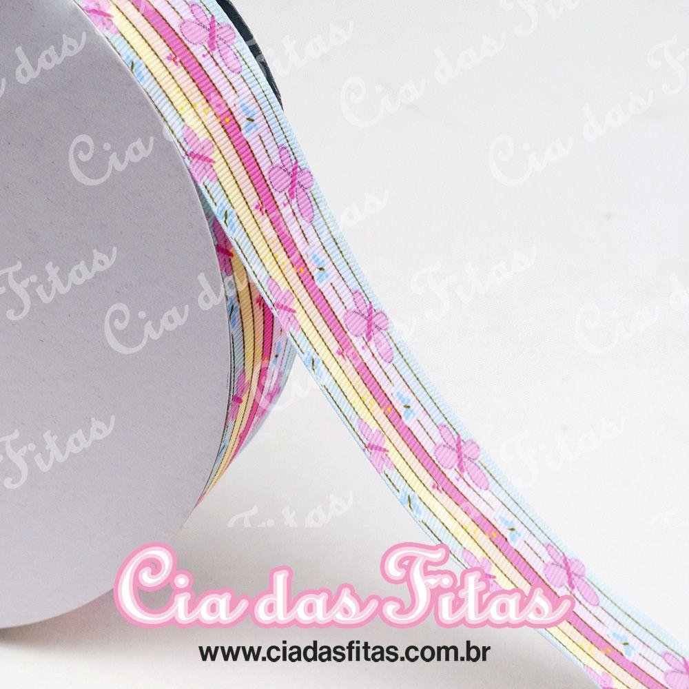 Fita de Gorgurão Borboleta Arcos Iris 47 38mm x 5mts