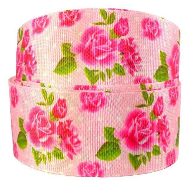 Fita de Gorgurão Floral Rosa 38mm x 1mts