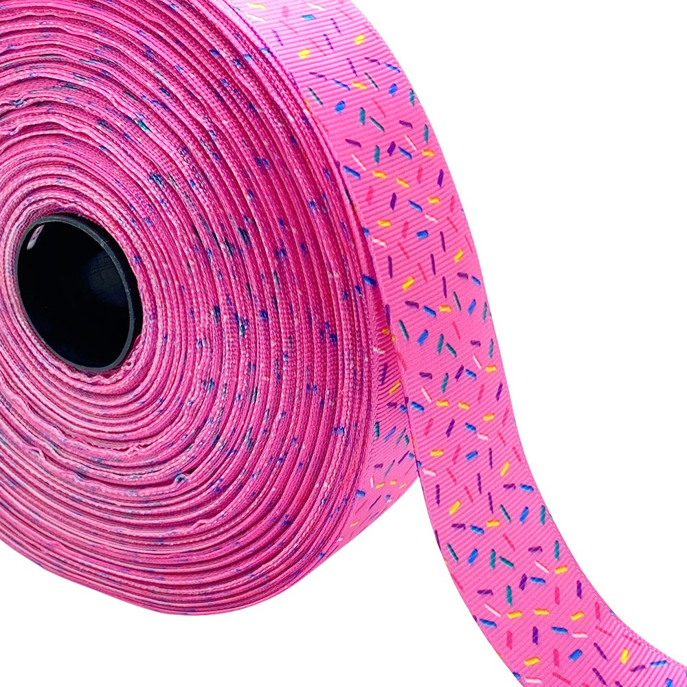 Fita de gorgurão Granulado Rosa 38mm x 5mts