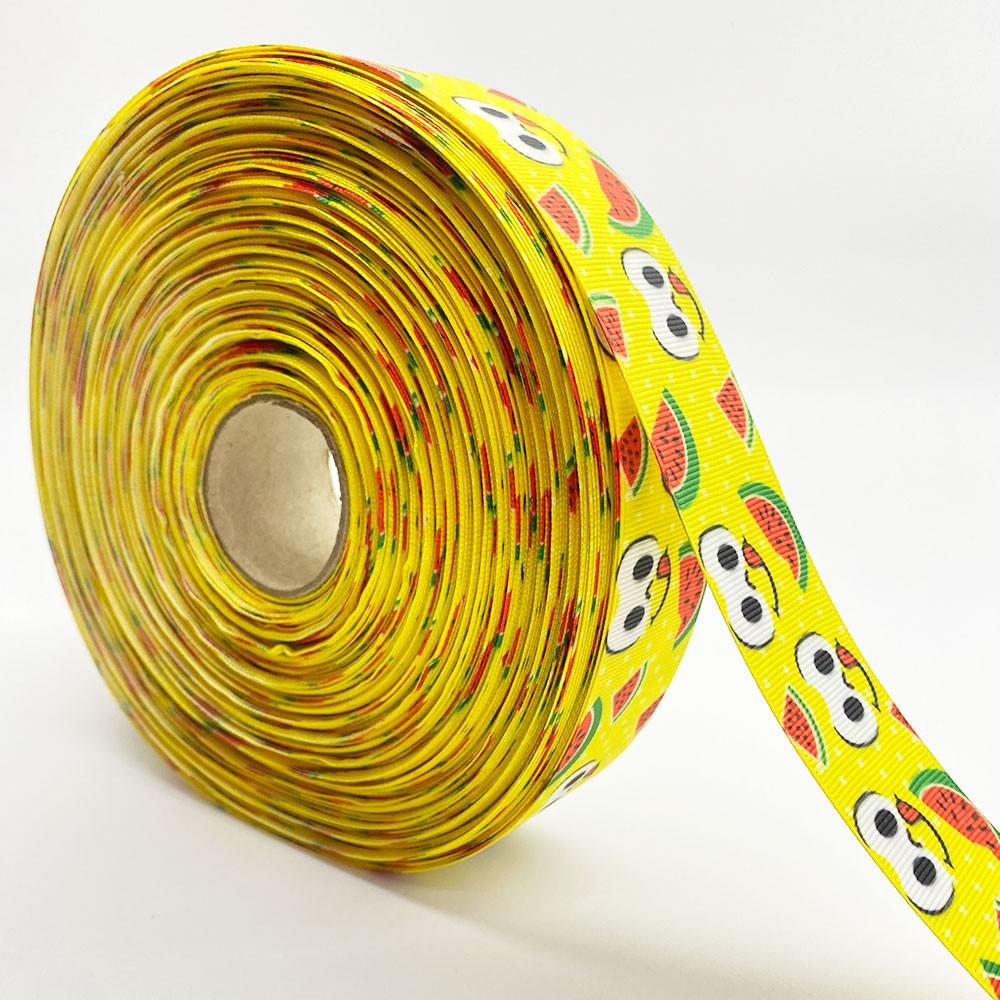 Fita de gorgurão MG Olhos Fundo Amarelo 38mm x 5mts