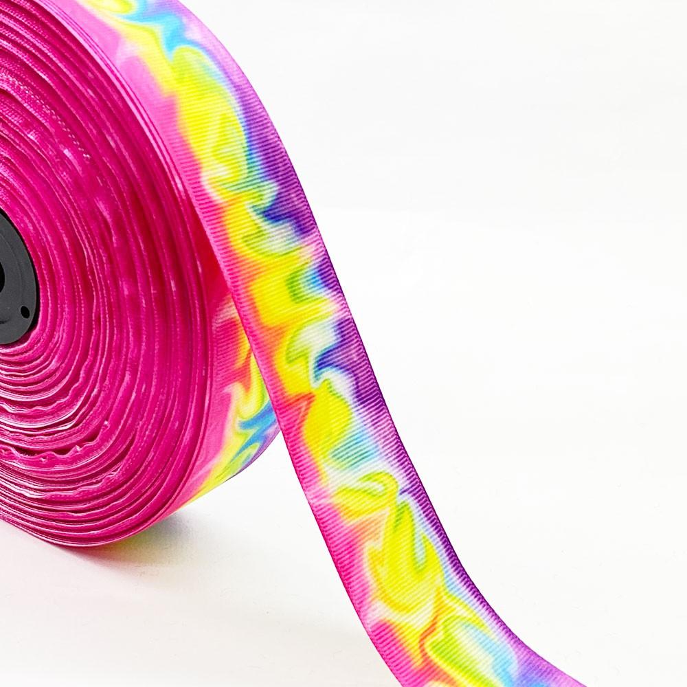 Fita de gorgurão Pink com Amarelo Tie Dye 38mm x 5mts