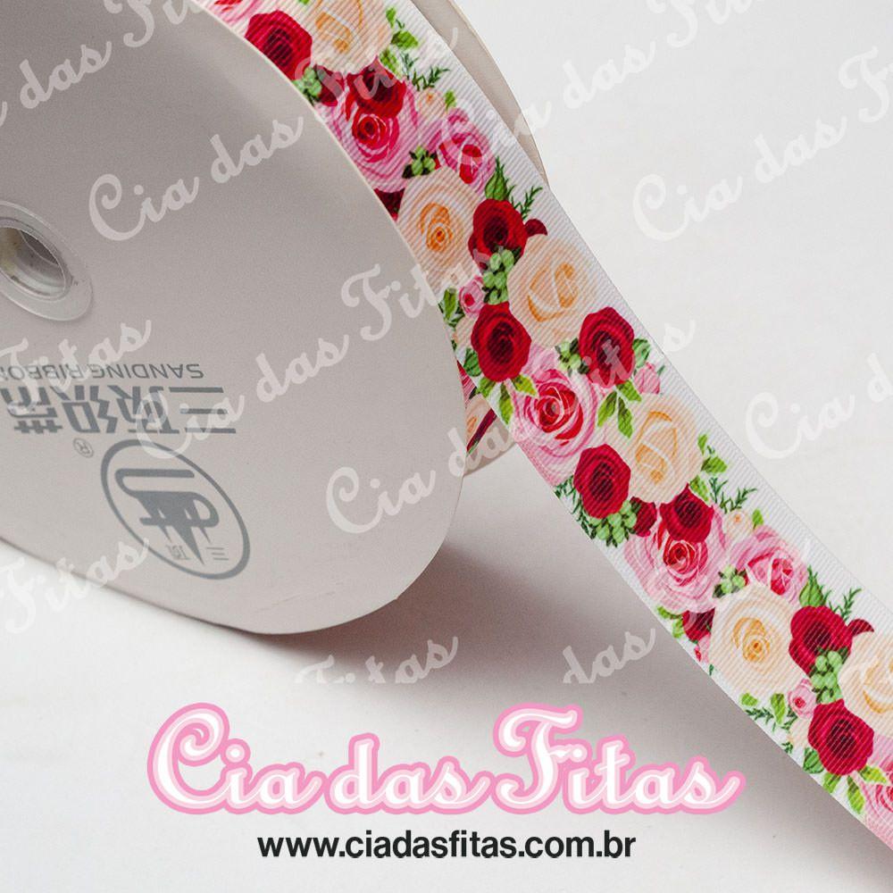 Fita de Gorgurão Sanding Floral Creme e Vermelho 38mm x 1mt