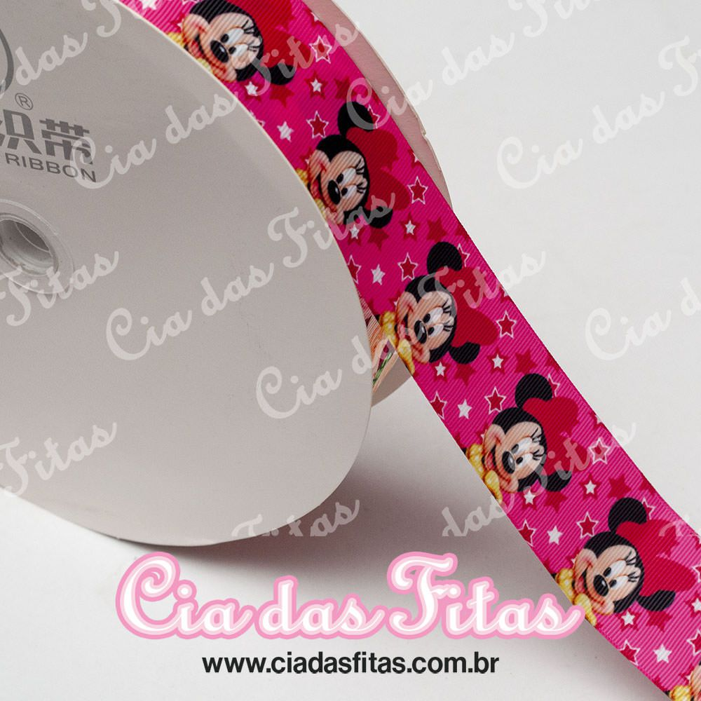 Fita de Gorgurão Sanding Minnie Pink 38mm x 1mt