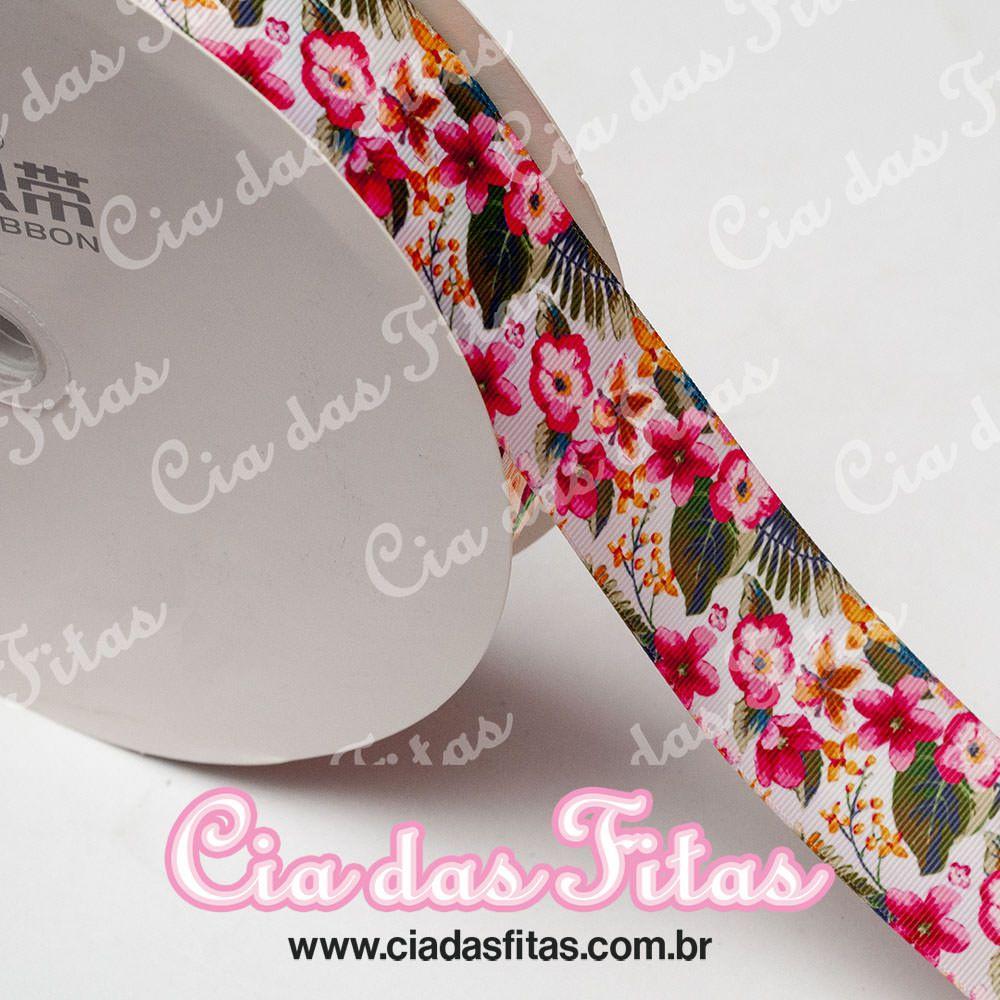 Fita de Gorgurão Sanding Rosas e Flores 38mm x 1mt