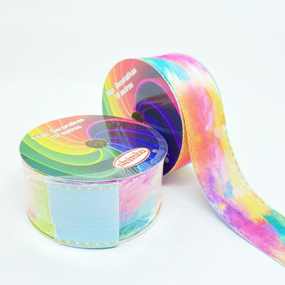 Fita Dupla face Cor 02 Tie Dye com pesponto N9 38mm x 10m Sinimbu