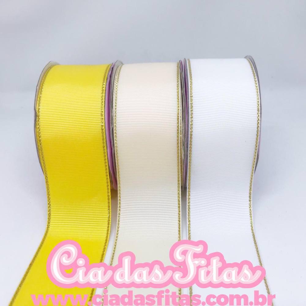 Fita Gorugurão c/ Borda Dourada Melaço 40mm