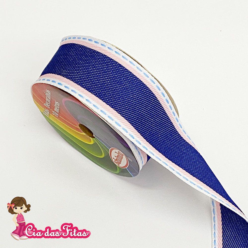 Fita Jeans com pesponto Listra Rosa 38mm x 10m Sinimbu