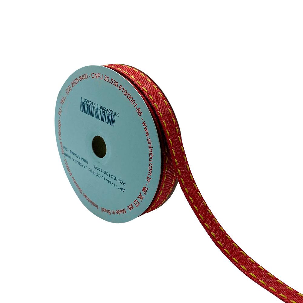 Fita Jeans Vermelha com pesponto N2 10mm x 10m Sinimbu