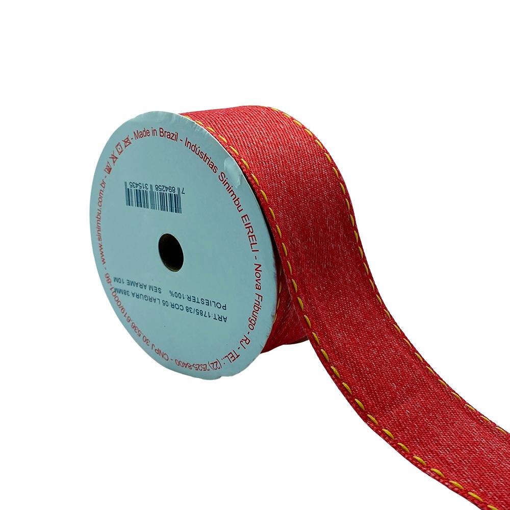 Fita Jeans Vermelha com pesponto N9 38mm x 10m Sinimbu