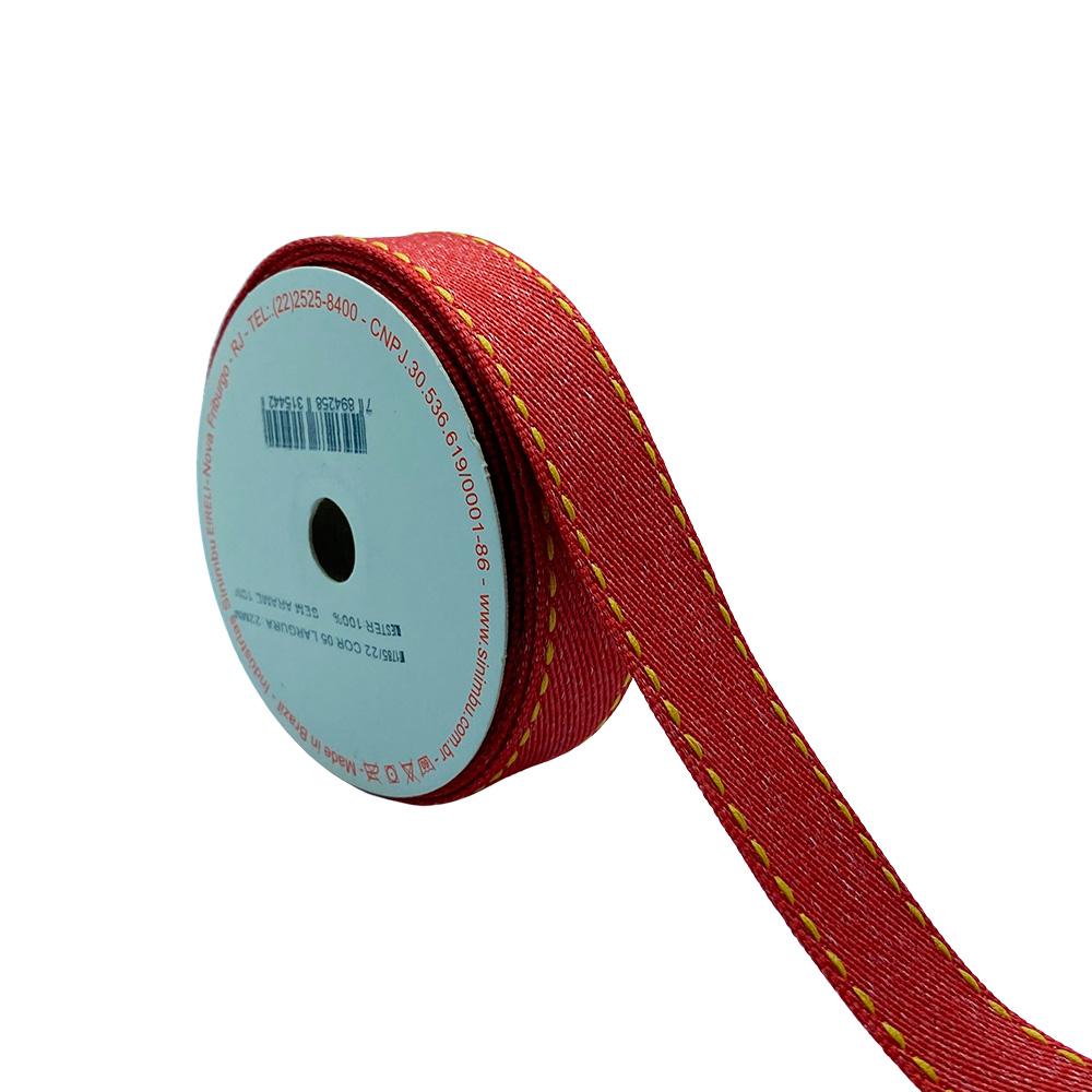 Fita Jeans Vermelha com pesponto N5 22mm x 10m Sinimbu