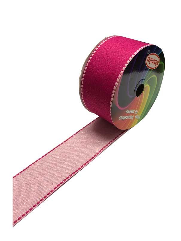 Fita Pesponto com Gliter Sinimbu Pink 38mmx10mts