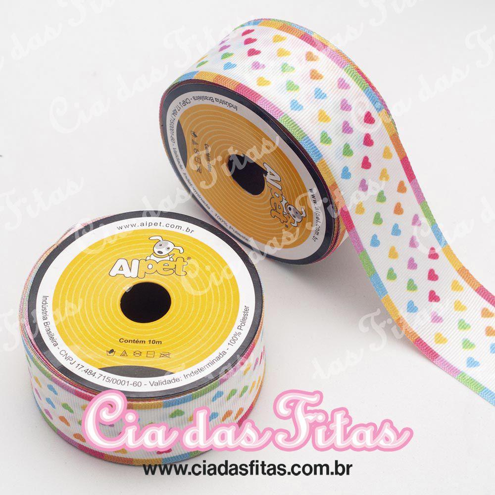 Fita Gorgurão Coração colorido fundo Branco 3295-04 Alpet 38mm