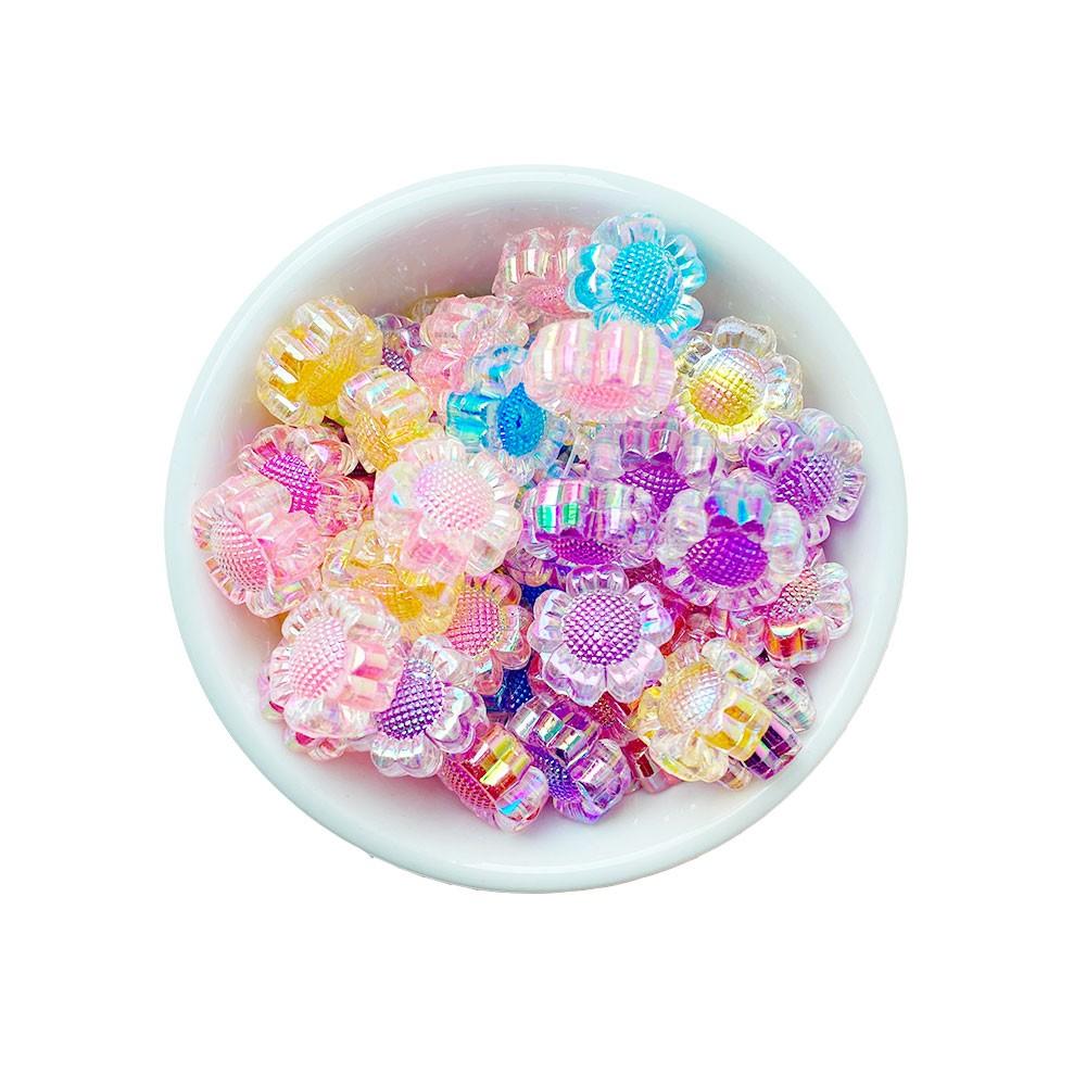 Flor com Miolo colorido 16mm em Acrílico com 25g