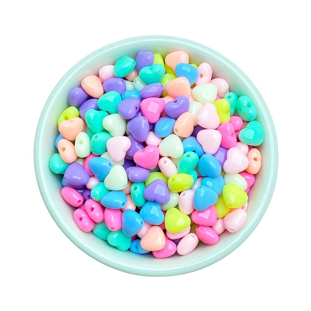 Miçanga Colorida Infantil - Coração Pequeno Candy 25g