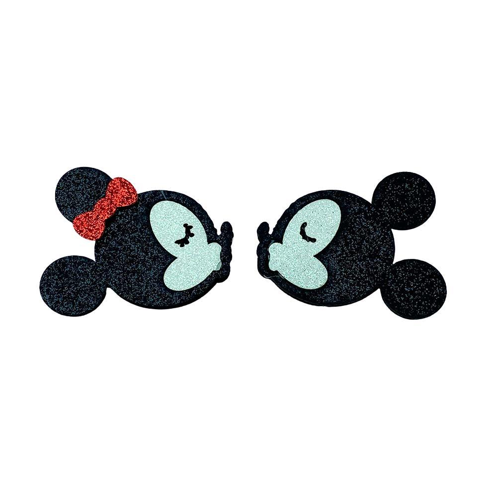 Minnie e Mickey com Glitter e Feltro 5,5cmx4,0cm