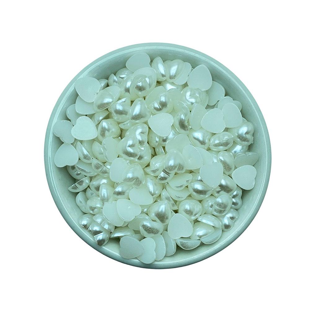Meia Perola 9mm Branca formato Coração 10g