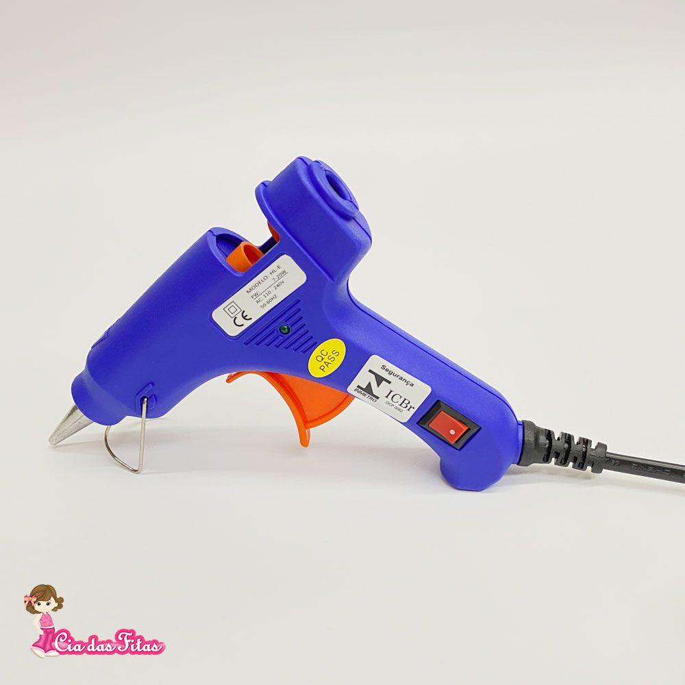 Pistola de Cola Quente Chinesinha Bastão Fino cor Azul 20w