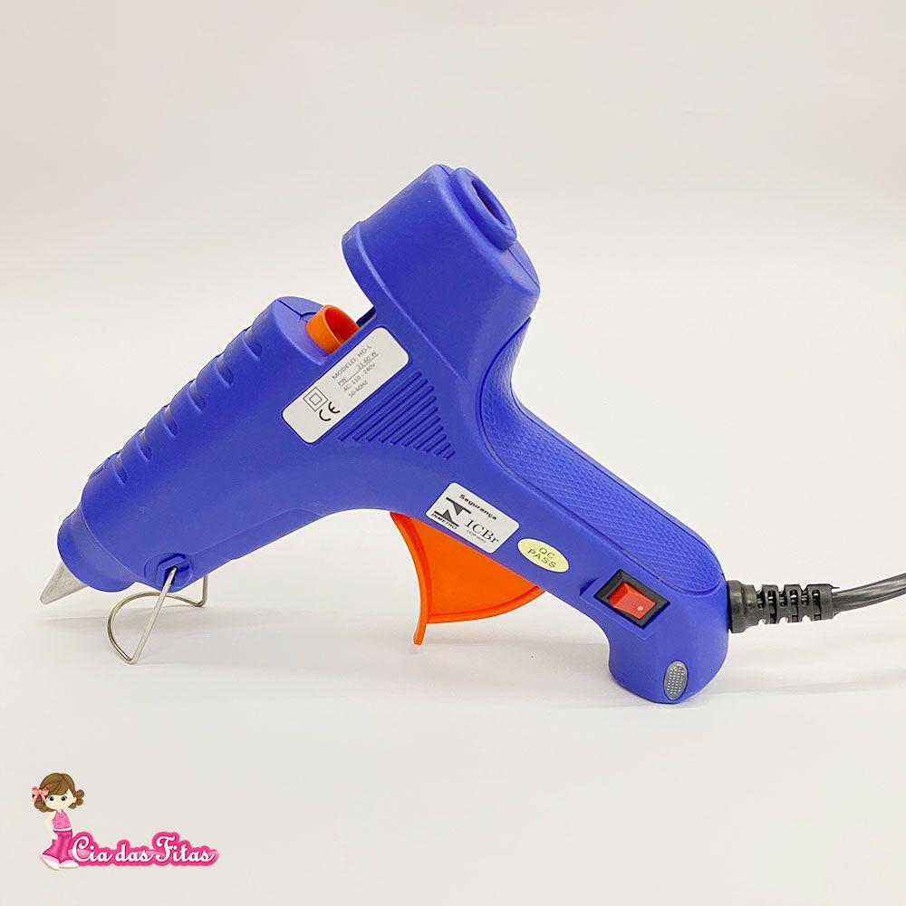 Pistola de Cola Quente Chinesinha Bastão Grosso cor Azul 60w