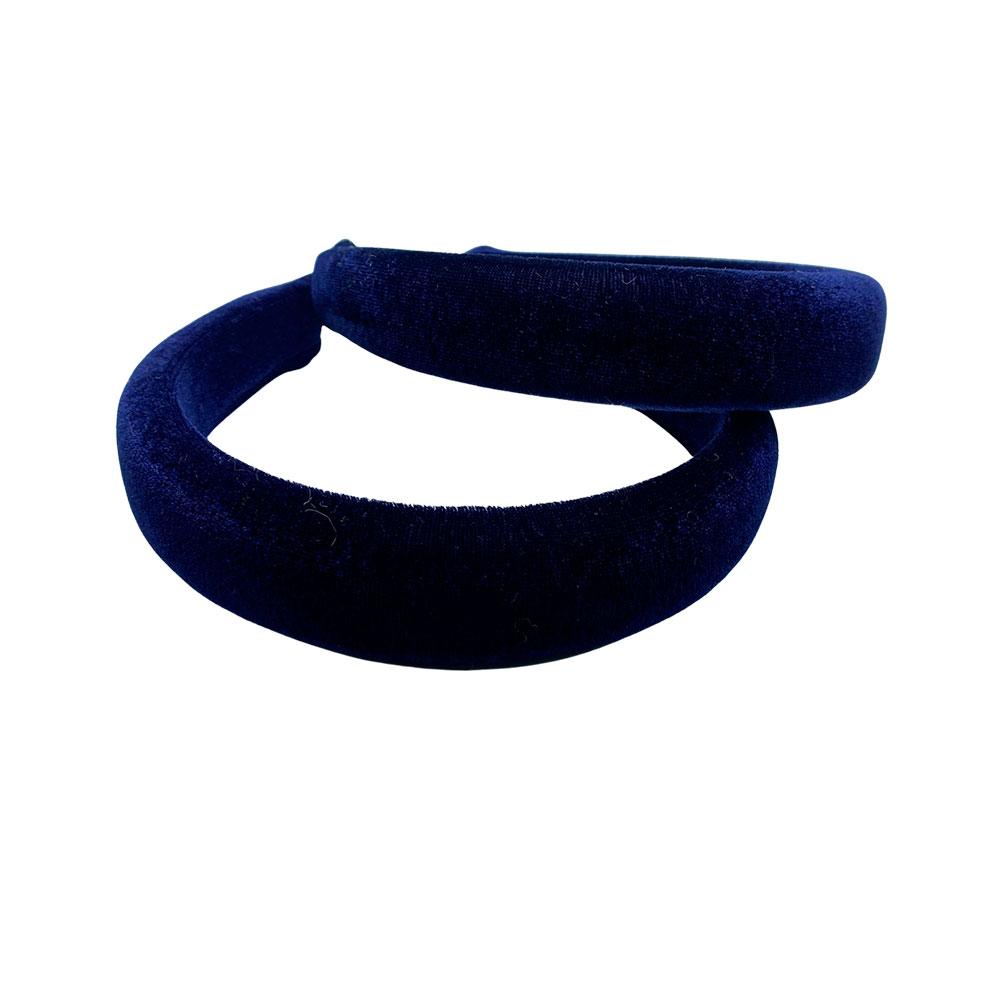Tiara c/ Veludo Acolchoada 3x37mm cor Azul Marinho com 1 Unidade