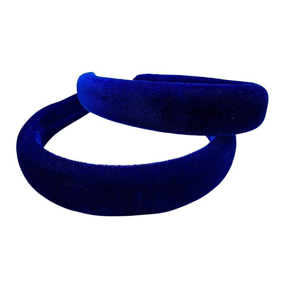 Tiara c/ Veludo Acolchoada 3x37mm cor Azul Royal com 1 Unidade