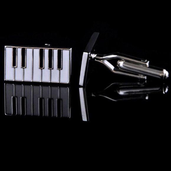 Abotoadura Masculina Black Piano