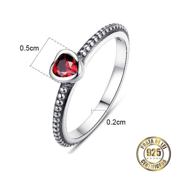 Anel de Noivado Solitário de Prata Pedra Vermelha