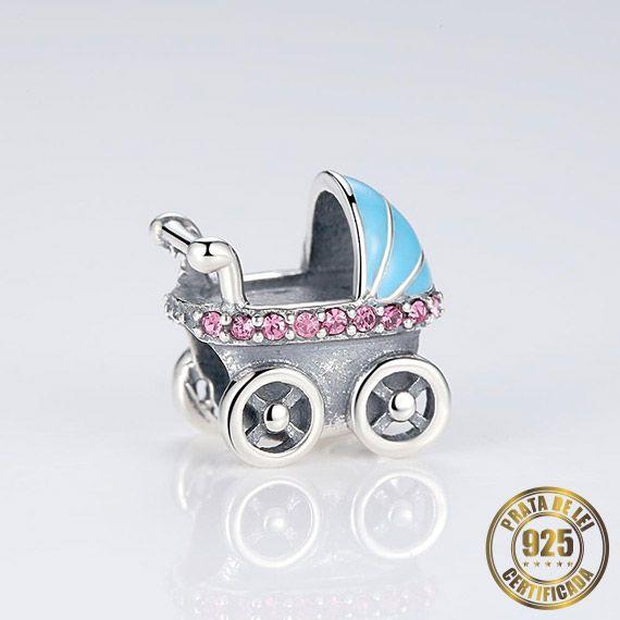 Berloque Carrinho de Bebê de Prata