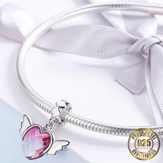 Berloque Coração de Cristal de Prata