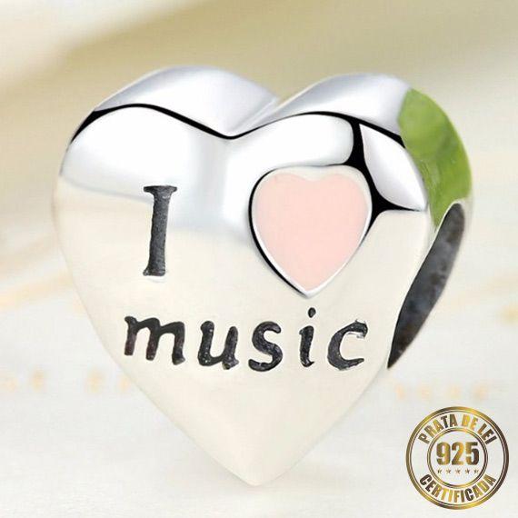 Berloque Coração I Love Music de Prata