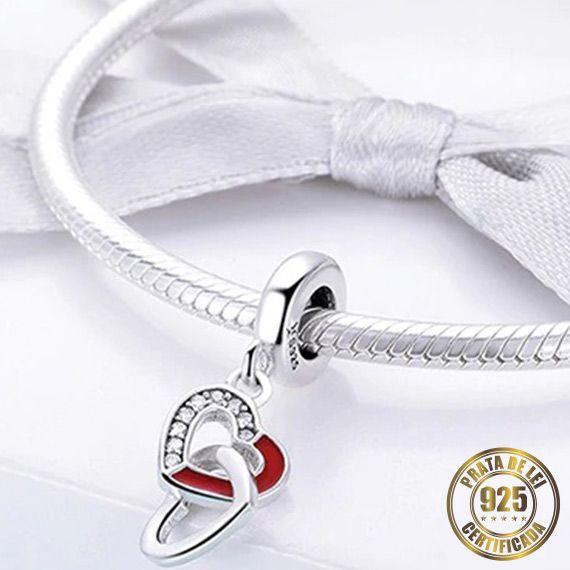 Berloque Coração Vermelho de Prata