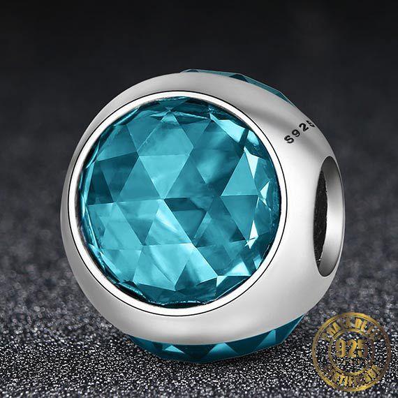 Berloque Gota de Cristal Azul Claro de Prata