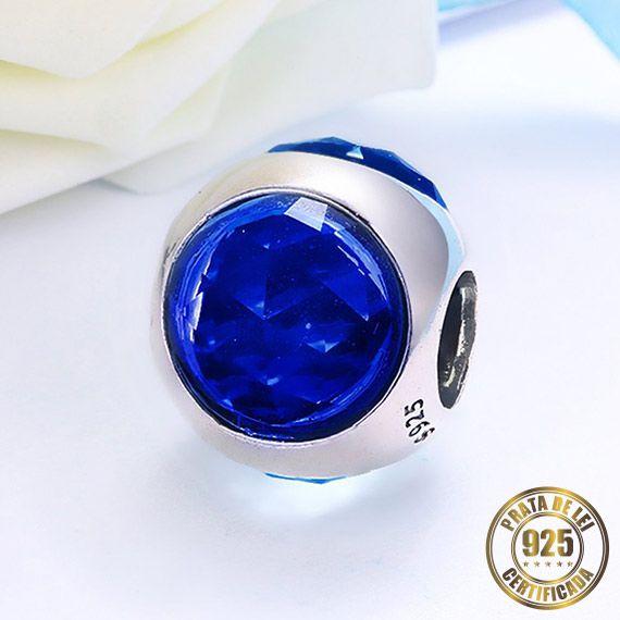 Berloque Gota de Cristal Azul Escuro de Prata