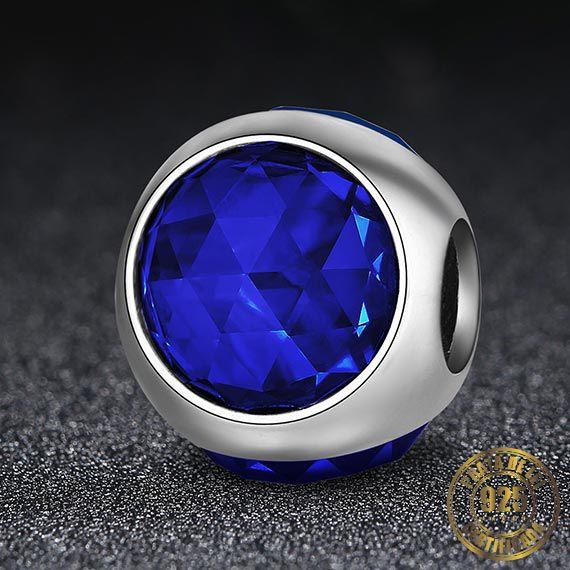 Berloque Gota de Cristal Azul Escuro