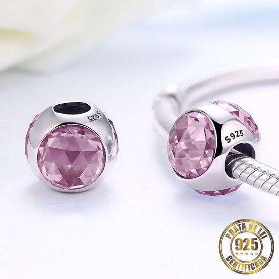 Berloque Gota de Cristal Rose de Prata