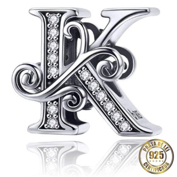 Berloque Letra K de Prata