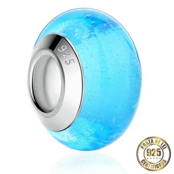 Berloque Murano Azul Piscina Separador de Prata