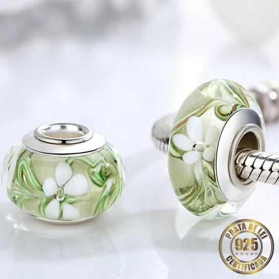 Berloque Murano Flores Separador de Prata
