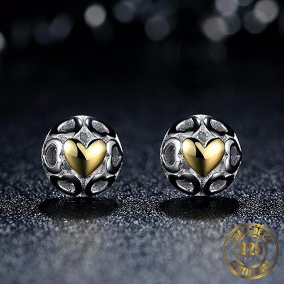 Brinco Coração Dourado de Prata