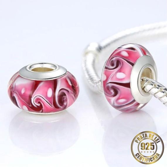 Berloque Murano Rosa Separador de Prata