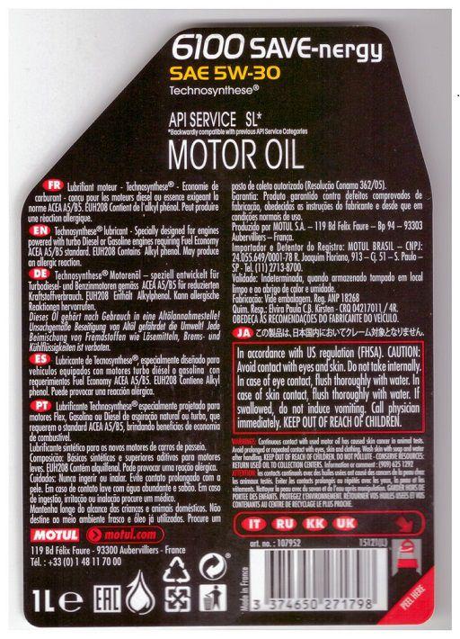 MOTUL 6100 SAVE-Nergy 5w30 FORD 913D  - E-Shop Autostore - A loja do Canal Auto Didata
