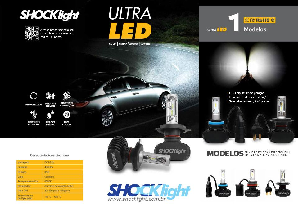 H4 Lâmpadas Ultra Led Titanium 50W 5000 lumens 6000K