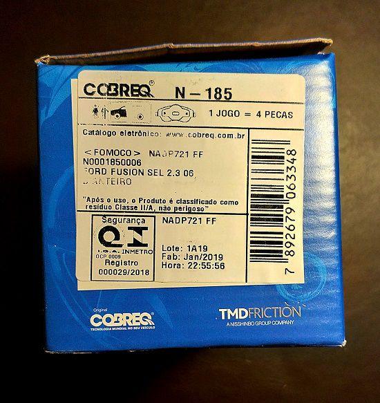 Jogo de pastilhas dianteiras COBREQ OEN FoMoCo Ford Fusion 2006 até 2012  - E-Shop Autostore - A loja do Canal Auto Didata