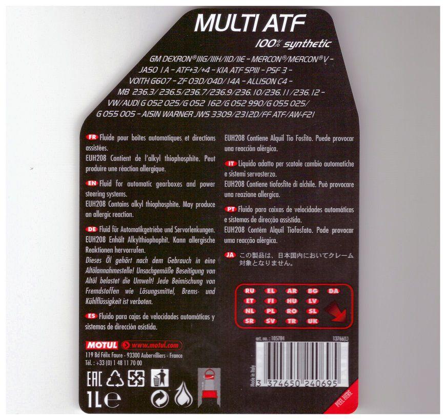 MOTUL MULTI ATF   - E-Shop Autostore - A loja do Canal Auto Didata