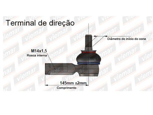 Terminal de Direção Viemar LADO ESQUERDO Ford Fusion 2006/2012