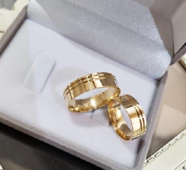 Aliança de Casamento em Ouro 18 k Coliseu